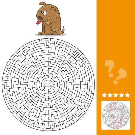 Funny game for children education. Maze - high level. Help the Cartoon Dog Find the Bone. Vector Illustration Illustration