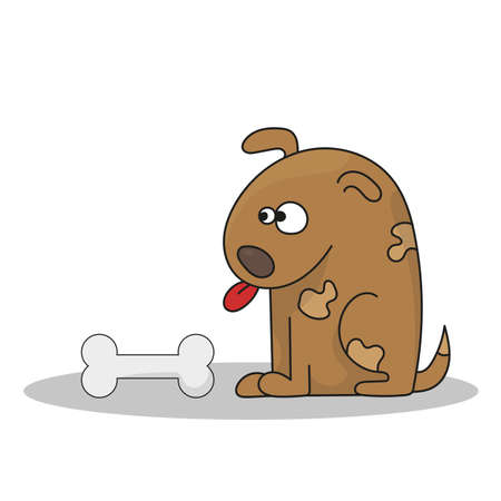 Vector illustration of Cartoon Dog with bone. Happy cartoon puppy sitting, cute little dog