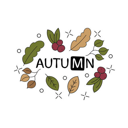 vector hand lettering text about autumn with doodle leaves and dots Illustration