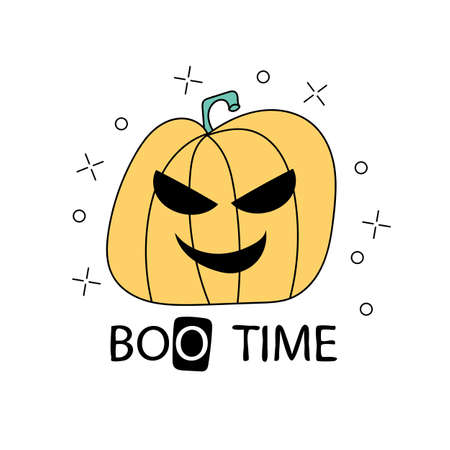 Halloween Time illustration with scary pumpkin character with eyes. Hand drawn art for Halloween party in cartoon style. Design for greeting card, decoration, poster, banner Illustration
