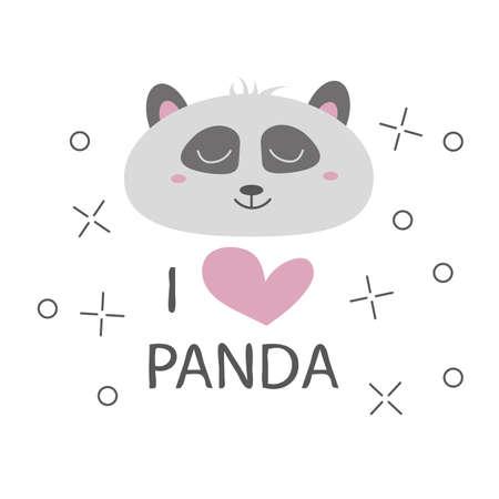 Panda t-shirt design with cute panda bear vector design - I love panda