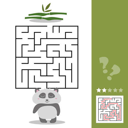 Panda Maze Game - help hungry panda find right way to his bamboo - Maze puzzle with solution Ilustração