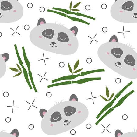 Seamless pattern hand-Drawn faces of pandas. Background for Children clothing. Panda pattern