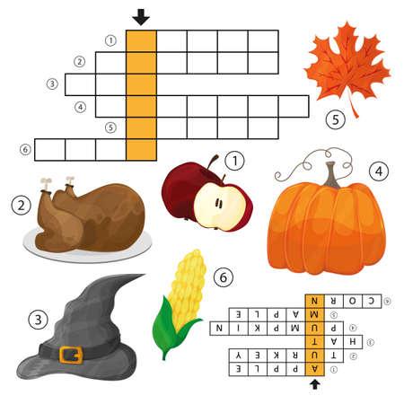 Apprenez l'anglais avec un jeu de mots croisés d'automne pour les enfants. Illustration vectorielle. Thème Halloween et Thanksgiving