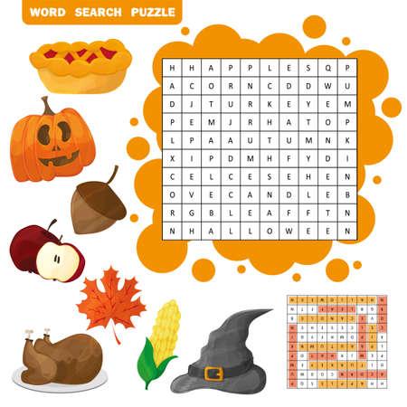 Apprenez l'anglais avec un jeu de recherche de mots d'automne pour les enfants. Illustration vectorielle. Thème Halloween et Thanksgiving