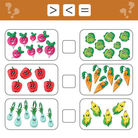 Learning mathematics, numbers - choose more, less or equal. Tasks for addition for preschool children, worksheet for kids.