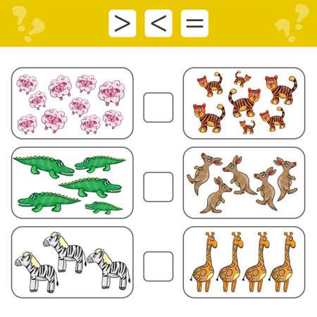 Apprendre les mathématiques, les nombres - choisissez plus, moins ou égal. Tâches d'ajout pour les enfants d'âge préscolaire, feuille de travail pour les enfants.
