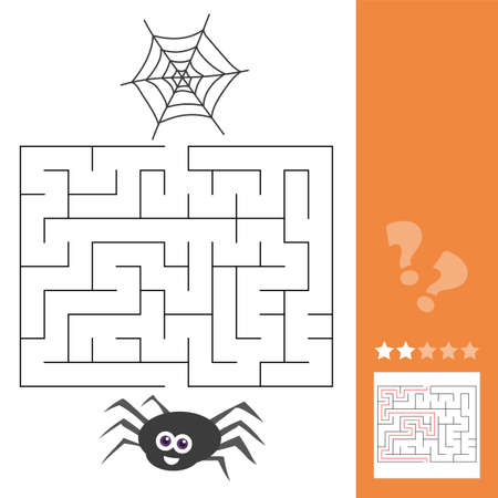 Cartoon Vector Illustration of Education Maze or Labyrinth Activity Game for Children with Spider Insect Character and his Web