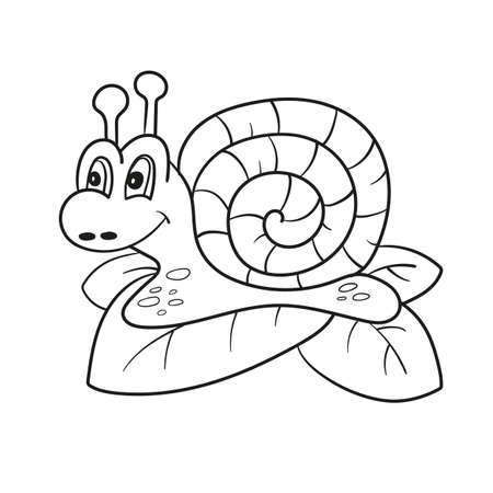 Snail isolated line art, Page for coloring book, Hand drawn vector illustration for children Banque d'images - 108289651