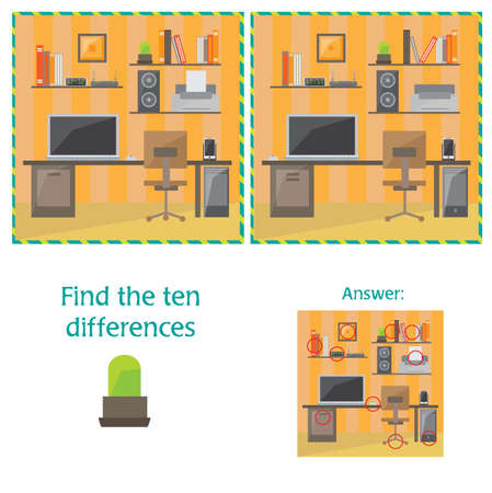 Cartoon Vector of Finding Differences Between Pictures Educational Activity Game - office item Ilustração Vetorial