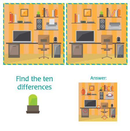Vector de dibujos animados de encontrar diferencias entre imágenes Juego de actividades educativas - artículo de oficina Ilustración de vector