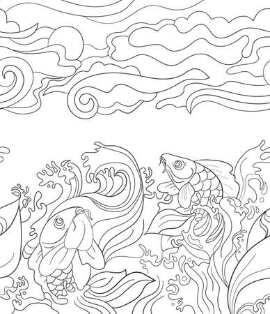 Seamless pattern with japanese carps. Tile background for your design, fabric textile, wallpaper or wrapping paper. Beautiful doodle  and plants