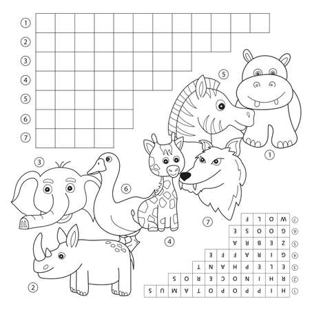 Vector crossword coloring book page, education game for children about animals. Kids magazine coloring book word puzzle game. Worksheet for kids printable version. Stock Photo