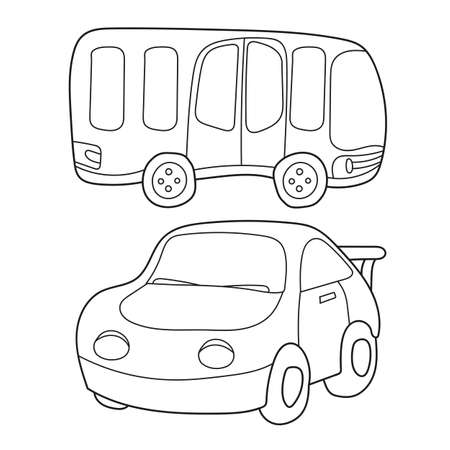 Contour black and white cartoon of bus and car. Coloring book for children - vector