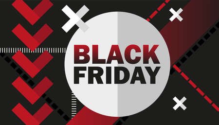 Black Friday Sale advertisement. Vector Illustration for your business design in red, white and black colors.