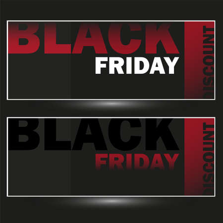 Vector set of modern discount vouchers for black friday sale in black and red colors. Template for gift cards, coupons and certificates. Isolated from the background. Illustration