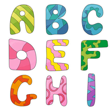 Vector cartoon set of isolated cartoon style, alphabet letters. Commercial font type design