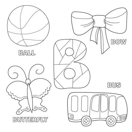 Kids alphabet coloring book page with outlined clip arts to color. Letter B. Bus, ball, bow, butterfly. Hand drawn outline cartoon character and letter for childrens typeface Illustration