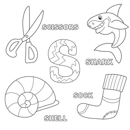 Alphabet coloring book page with outline clip art. Letter S. Vector Shark, scissors, sock, shell Illustration