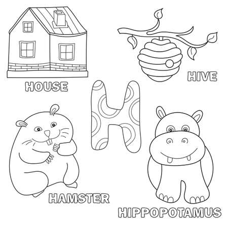 Kids alphabet coloring book page with outlined clip arts. Letter H - hamster, house, hive, hippo Illustration