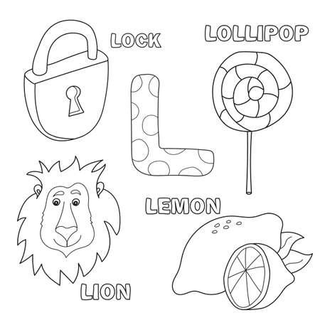 Alphabet letter with alphabet letters - L. pictures of the letter - coloring book for kids - lion, lock, lollipop, lemon Stock Photo