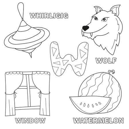 Black and White Cartoon Vector Illustration of Letter W Worksheet for Preschool and Elementary Age Children Coloring Book - wolf, watermelon, window, whirligig