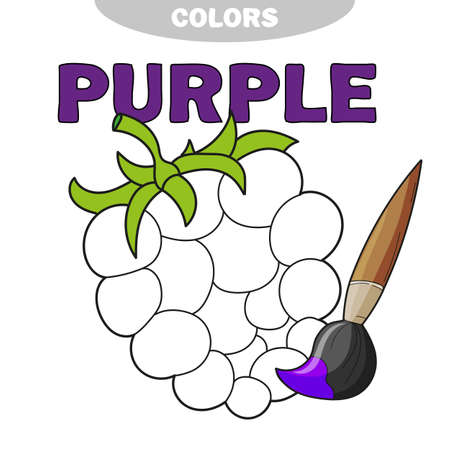 Illustration of isolated black and white berry for coloring book. Preschool education. Vector illustration. Kids activity. Learn thr color - purple 스톡 콘텐츠
