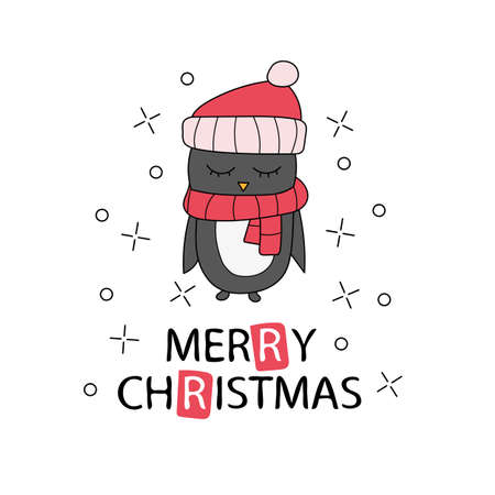 Hand drawn Christmas greeting card with pinguin. Lettering text. Vector illustration. Template for New Year Cards and Merry Christmas posters or doodle print