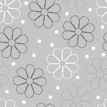 Vector flowery pattern. Seamless floral background for wrapping, textile, wallpaper. Grey colors