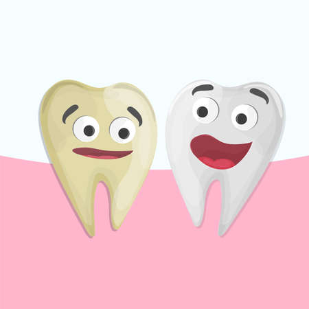Professional Teeth Whitening, Cartoon Healthy and yellow Tooth, vector illustration. medical illustration - Dental care
