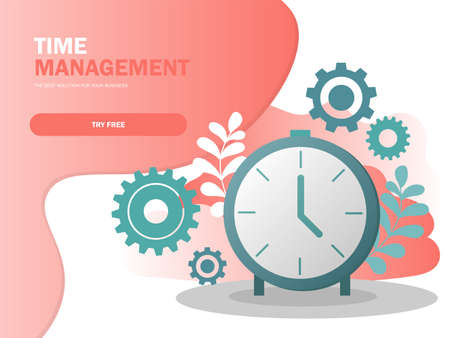 Time management planning and control concept for effiecient succesful and profitable business composition poster vector illustration in modern colors