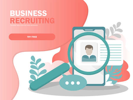Online Recruitment vector illustration concept, businessman analyzing resume, can use for landing page, template, ui, web, mobile app, poster, banner, flyer in modern colors Banque d'images - 123256785