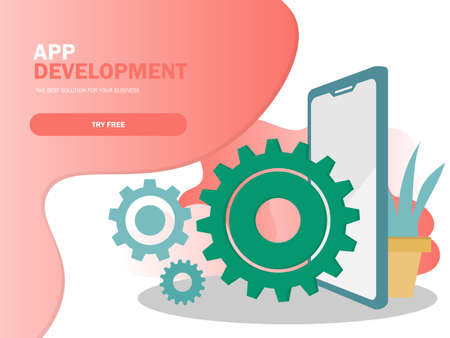 Mobile application development vector illustration. Smartphone interface building process, mobile app build 向量圖像