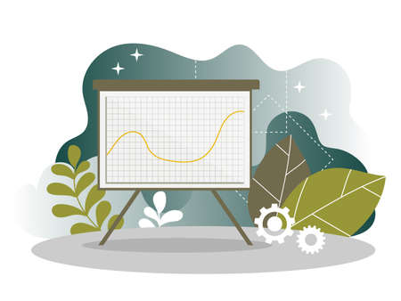 Digital Marketing Analysis Report Chart Landing Page. Business Strategy Analyzing. Internet Market Analytics Chart Design for Website or Web Page. Flat Vector Illustration