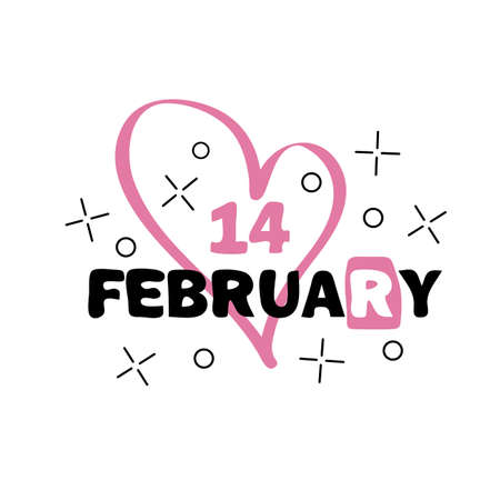 Badge 14 february. Happy Valentines Day concept. Hand drawn vector lettering illustration for postcard, t shirt, print, stickers, wear, posters design.