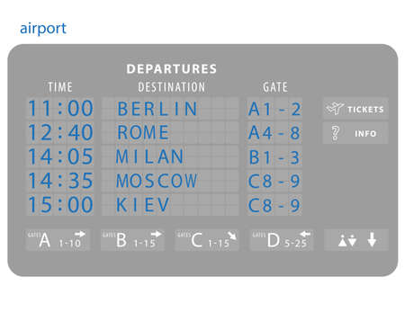 Vector airport board isolated. Mechanical flip airport scoreboard. Airport and railway timetable departure or arrival Illustration