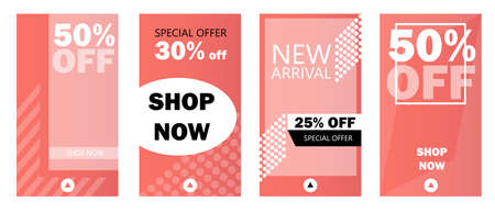 Set of social media stories sale banner background, template photo. Can use for website, mobile app, flyer, coupon, gift card, web design