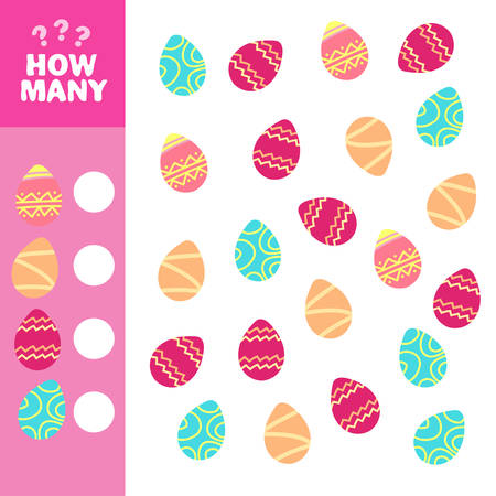 How many is educational game. Maths task for the development of logical thinking of children. Count how many eggs and write down the result. 일러스트