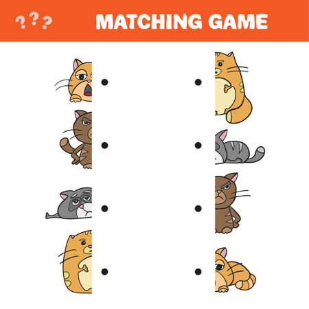 Cartoon Illustration of Educational Game of Matching Halves of Cat Characters - Match game - Vector
