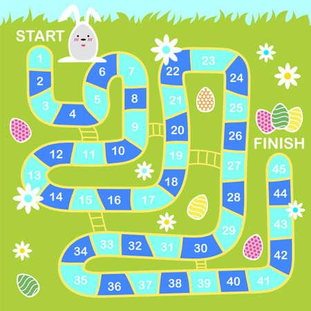 Illustrazione di stile del fumetto di vettore del gioco da tavolo di Pasqua per bambini con simboli di vacanza. Modello per la stampa.