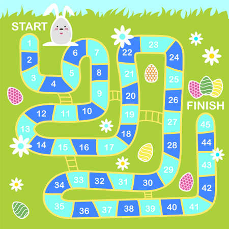 Vector cartoon style illustration of kids Easter board game with holiday symbols. Template for print. Stock Illustratie