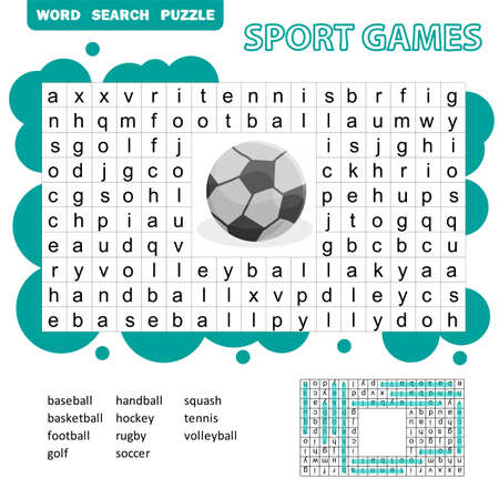 Sport games themed word search puzzle for kids. Answer included. Fun education game for kids, preschool worksheet activity, vector illustration