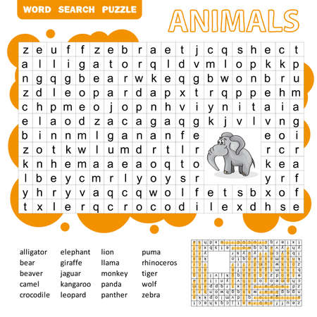 Words search puzzle game of animals for preschool kids activity worksheet colorful printable version. Vector Illustration.