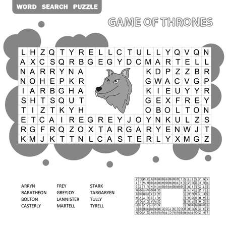 Crossword - search words game, education game for children - Game of Thrones, Great Houses of Westeros