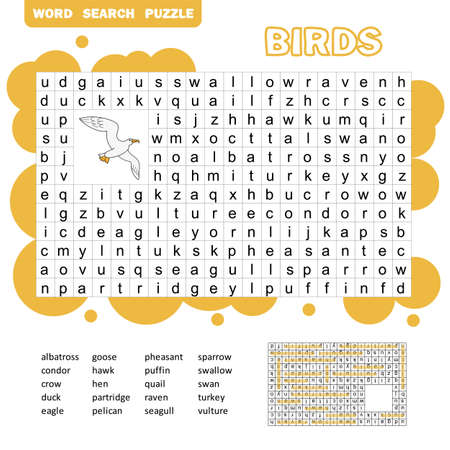 Words search puzzle game of birds animals for preschool kids activity worksheet colorful printable version. Vector Illustration.