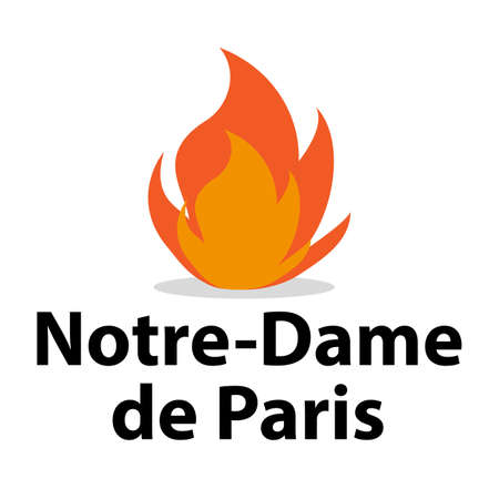 FRANCE - APRIL 15 2019 fire in the cathedral of Notre Dame - vector illustration 일러스트