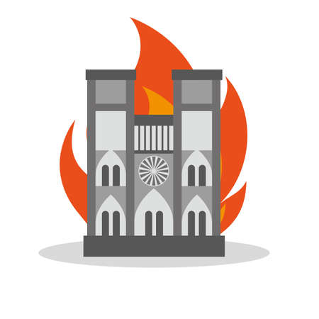 FRANCE - APRIL 15 2019 fire in the cathedral of Notre Dame - vector illustration  イラスト・ベクター素材