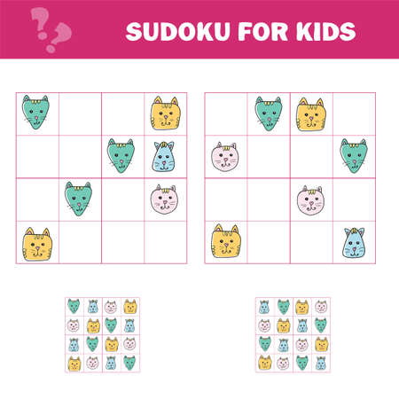 Sudoku for kids. Education developing worksheet. Activity page with pictures. Puzzle game for children and toddler. Logical training. Cats Cartoon