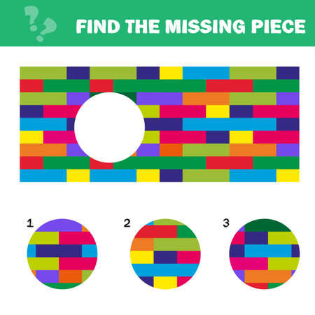 Visual logic puzzle with blocks. Find missing piece - Puzzle game for Children. Worksheet for kids.