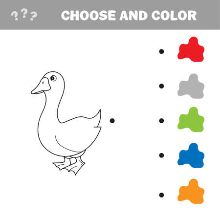 Black and White Cartoon Vector Illustration of Funny Goose Farm Bird Animal for Coloring Book